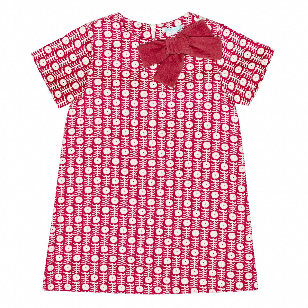 Cherry Corduroy A line Dress w/Bow