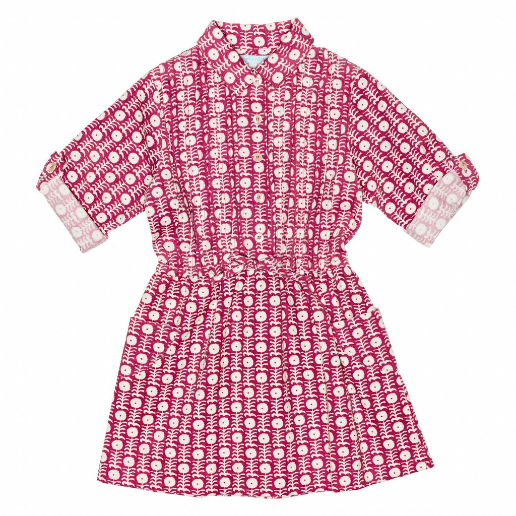 Cherry Corduroy Shirt Dress w/pintucks