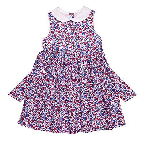 Classic Dress w/White Collar (Floral Red & Blue)