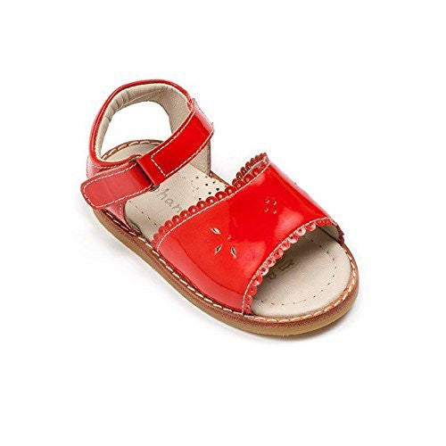 Classic Sandal with Scallop Poppy Red