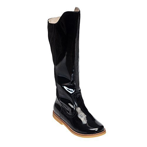 Color Block Tall Boot Patent Black