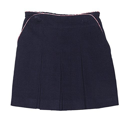 Cord. Skirt with Floral Piping Navy
