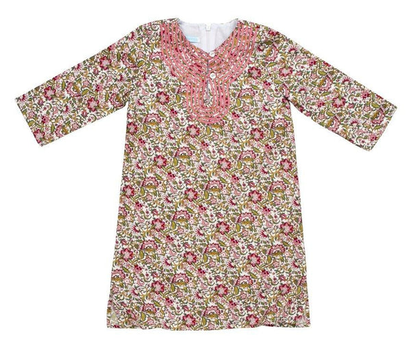 Tunic w/grossgrain Floral Green