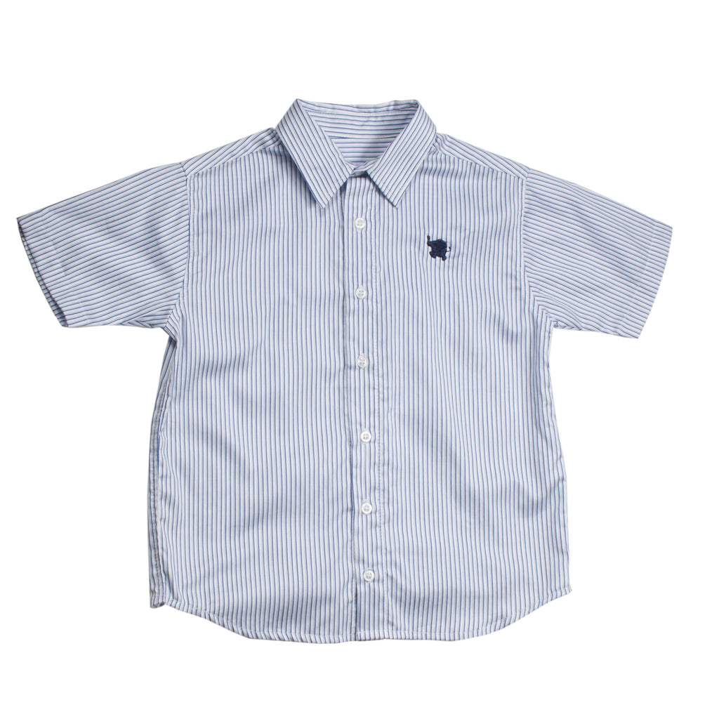 Short Sleeves Striped Navy Shirt