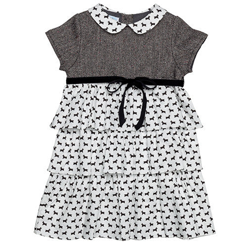Tiered Wool Dress Black-White