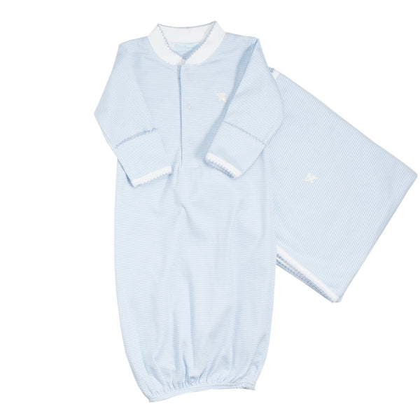 Light Blue Stripes Pima Cotton Gown & Blanket Set
