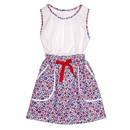 Floral Red & Blue Skirt w/white Blouse Set