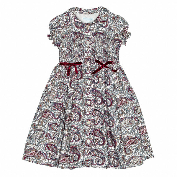 Greige Paisley Smocked Shirt Dress
