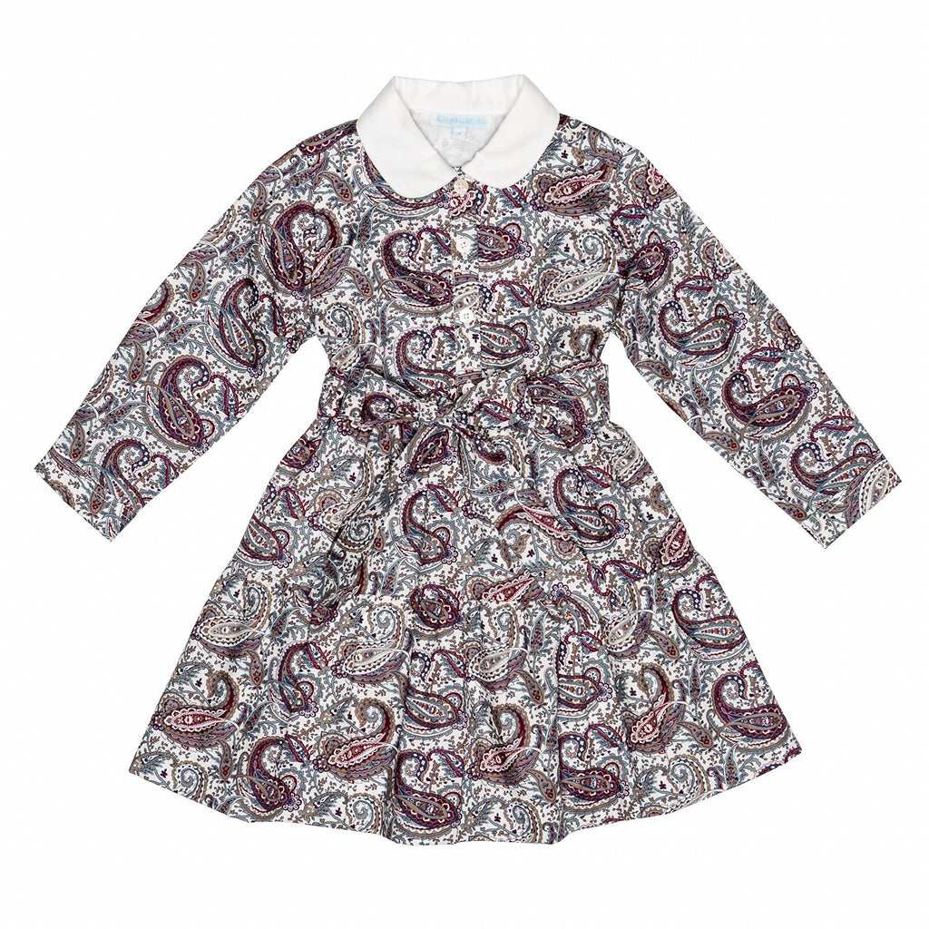 Greige Paisley Tiered Dress
