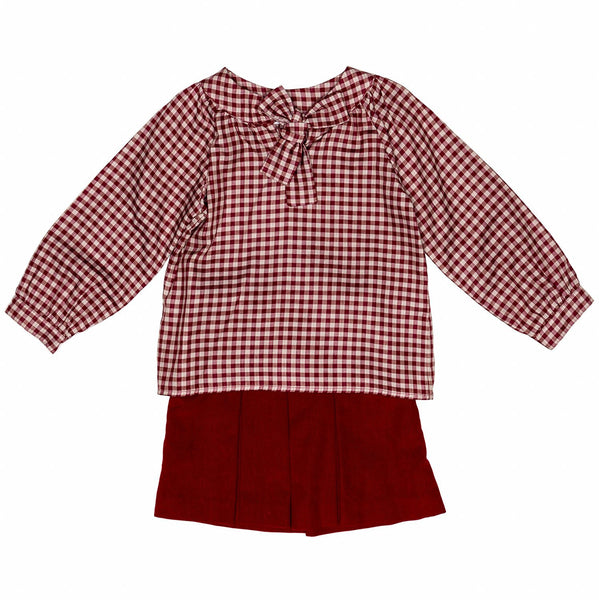 Jazzy Plaid Blouse w/Bow Set
