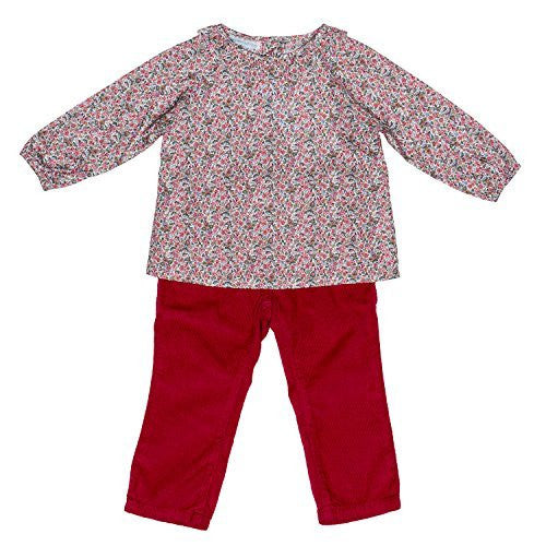 Liberty of London Guava Floral Baby Blouse+Cord. Pants Set