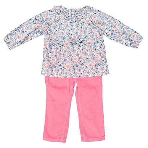 Liberty of London/Pink Floral Baby Blouse+Cord. Pants Set