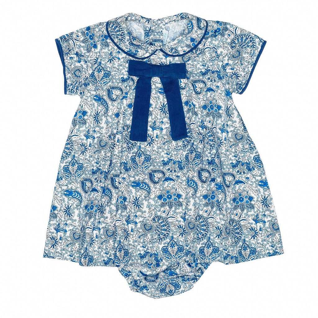 Paisley Blue Baby Dress W/Bow