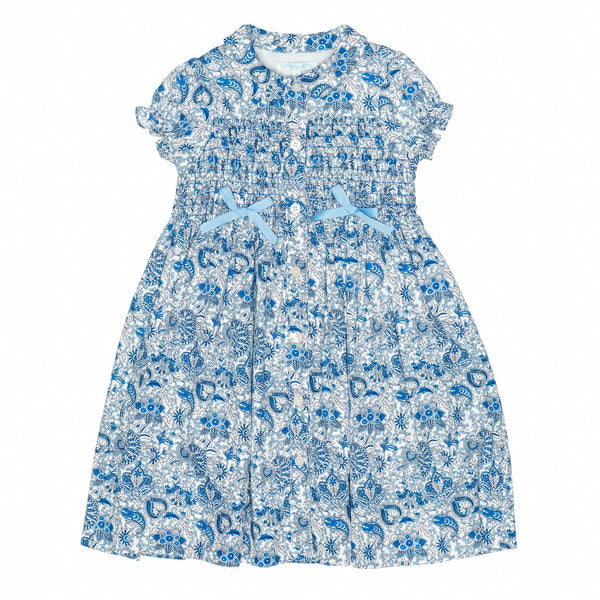 Paisley Blue Smocked Shirt Dress