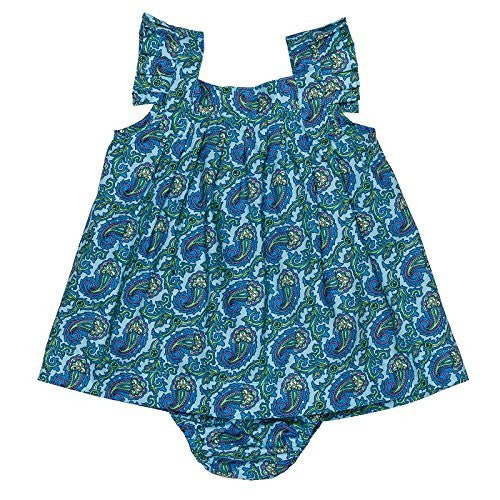 Paisley Emerald Baby Dress con Bloomer
