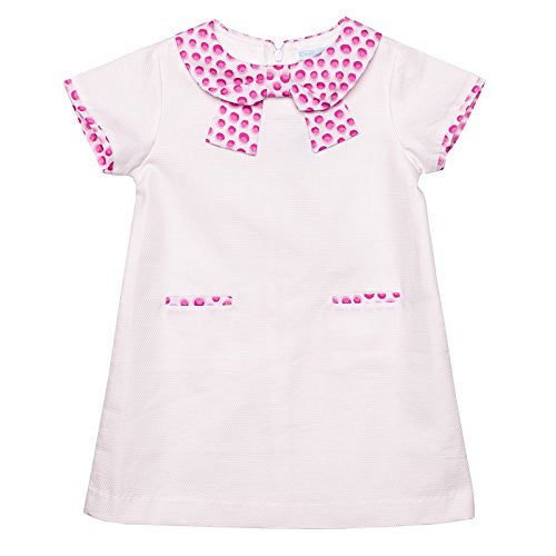 Pink Dots Short Sleeves Dress w/Bow