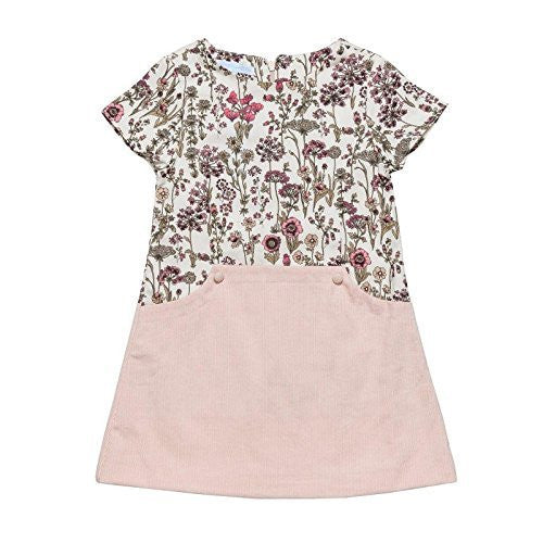 Pink Floral TwoTone Fitted Dress