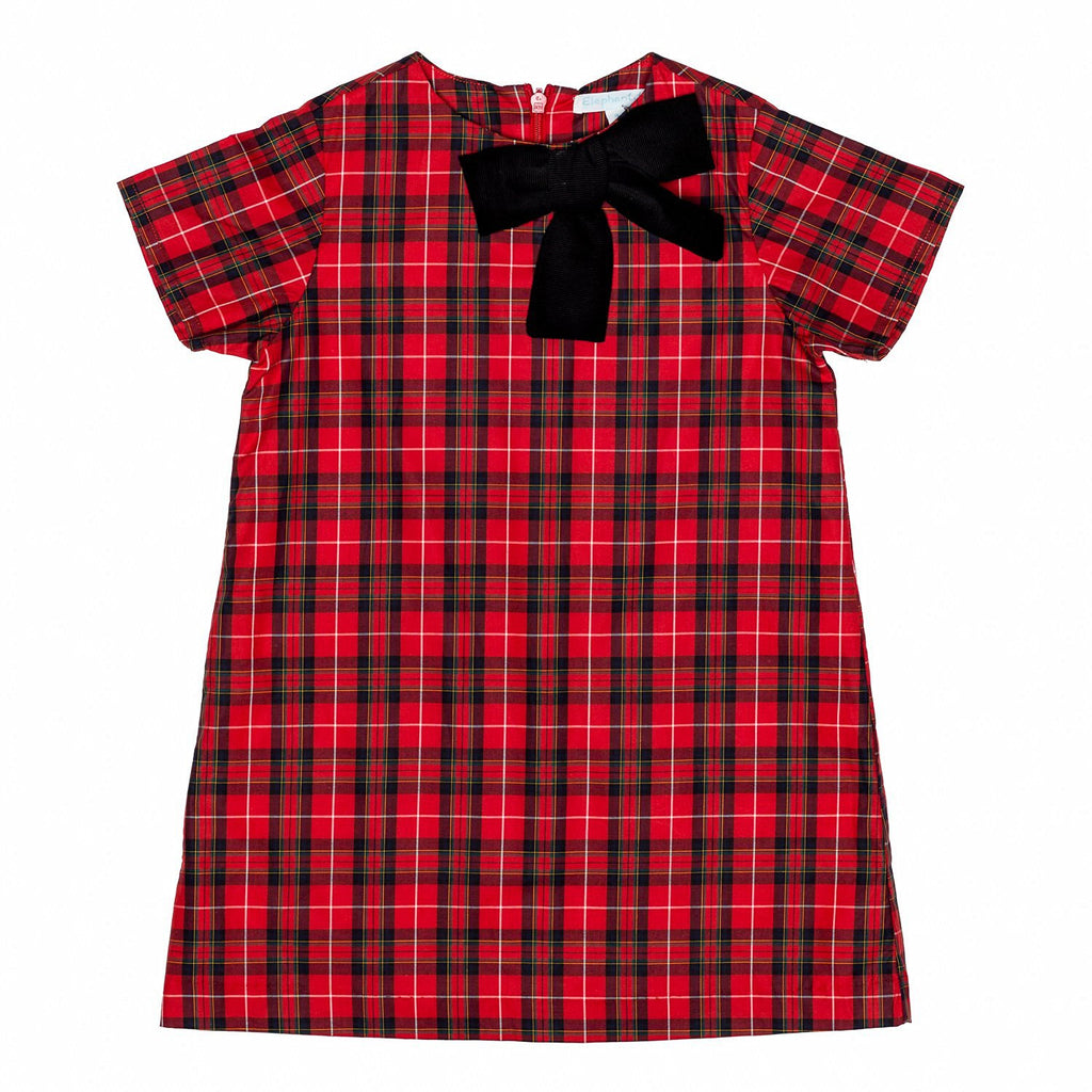 Red Plaid A line Dress w/bow