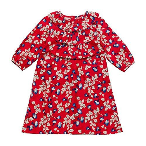 Rouge Floral Front Ruffled Dress