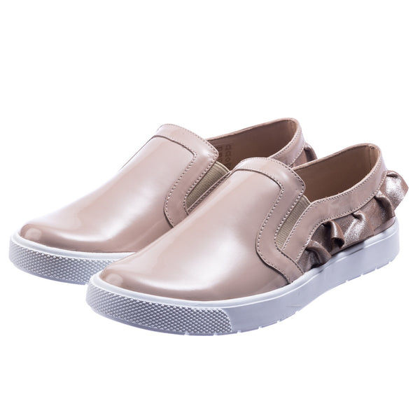 Ruffled Slip-On Patent Blush