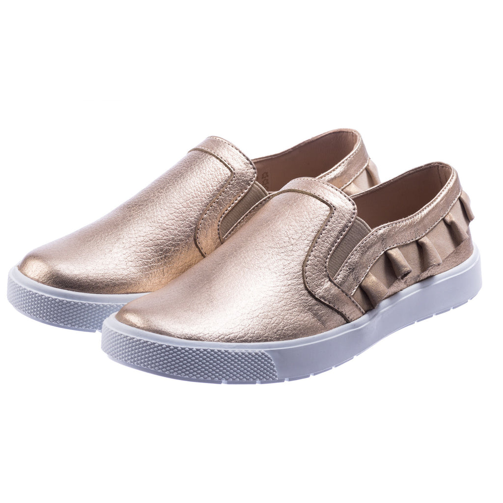 Ruffled Slip-On Gold