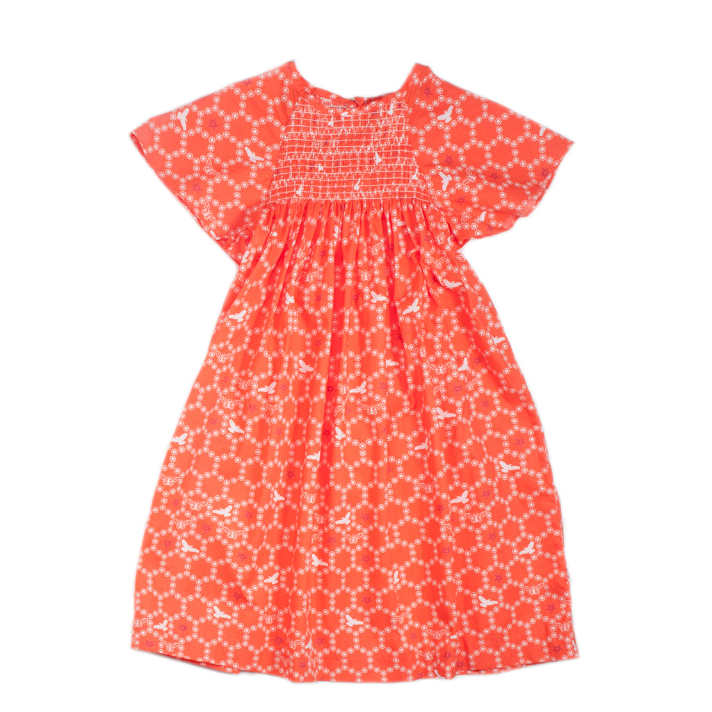 Orange Bees Smocked Tunic Dress