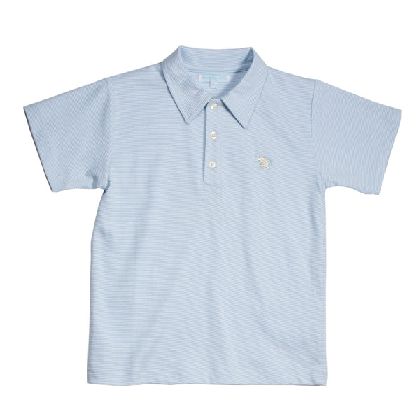 Light Blue-White Striped Polo