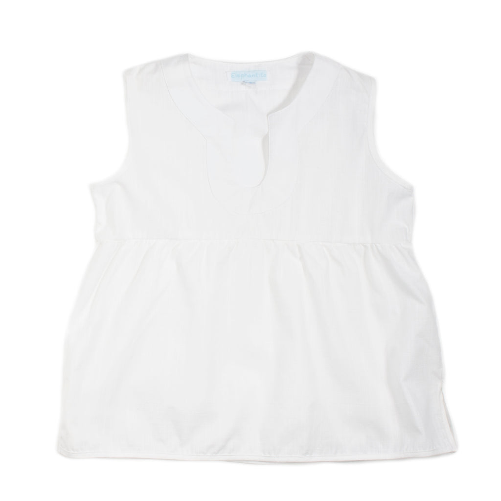 White linen Sleeveless Blouse