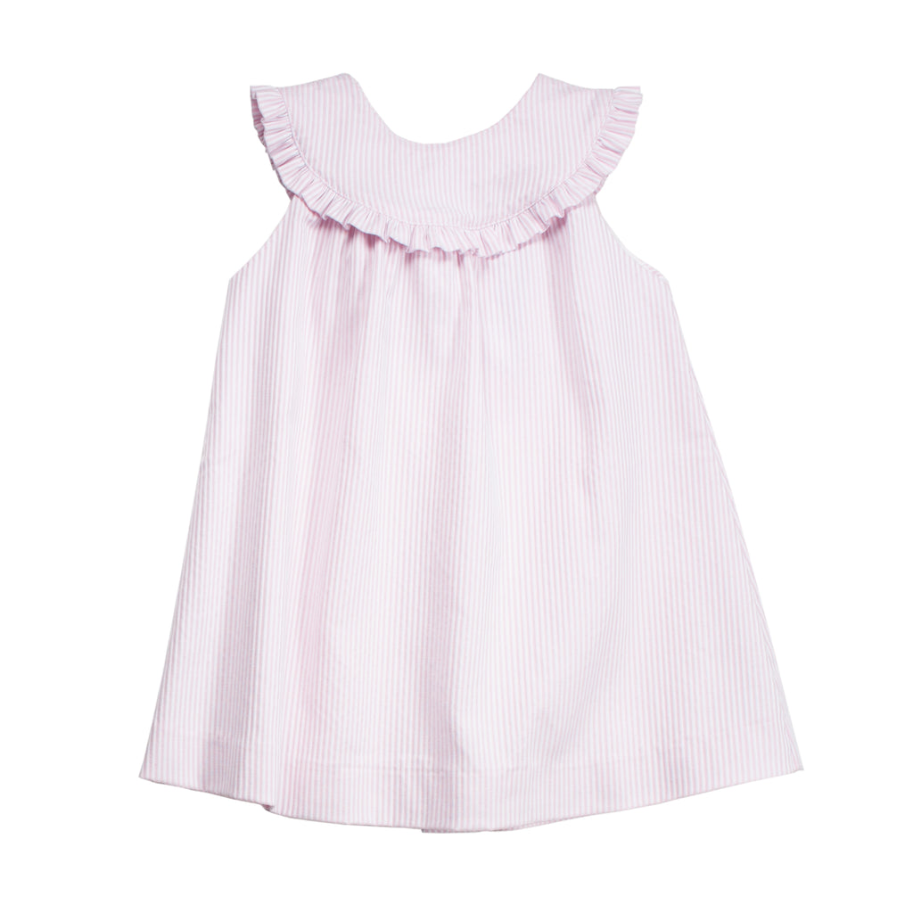 Pink and White Baby Striped Dress w/Ruffles