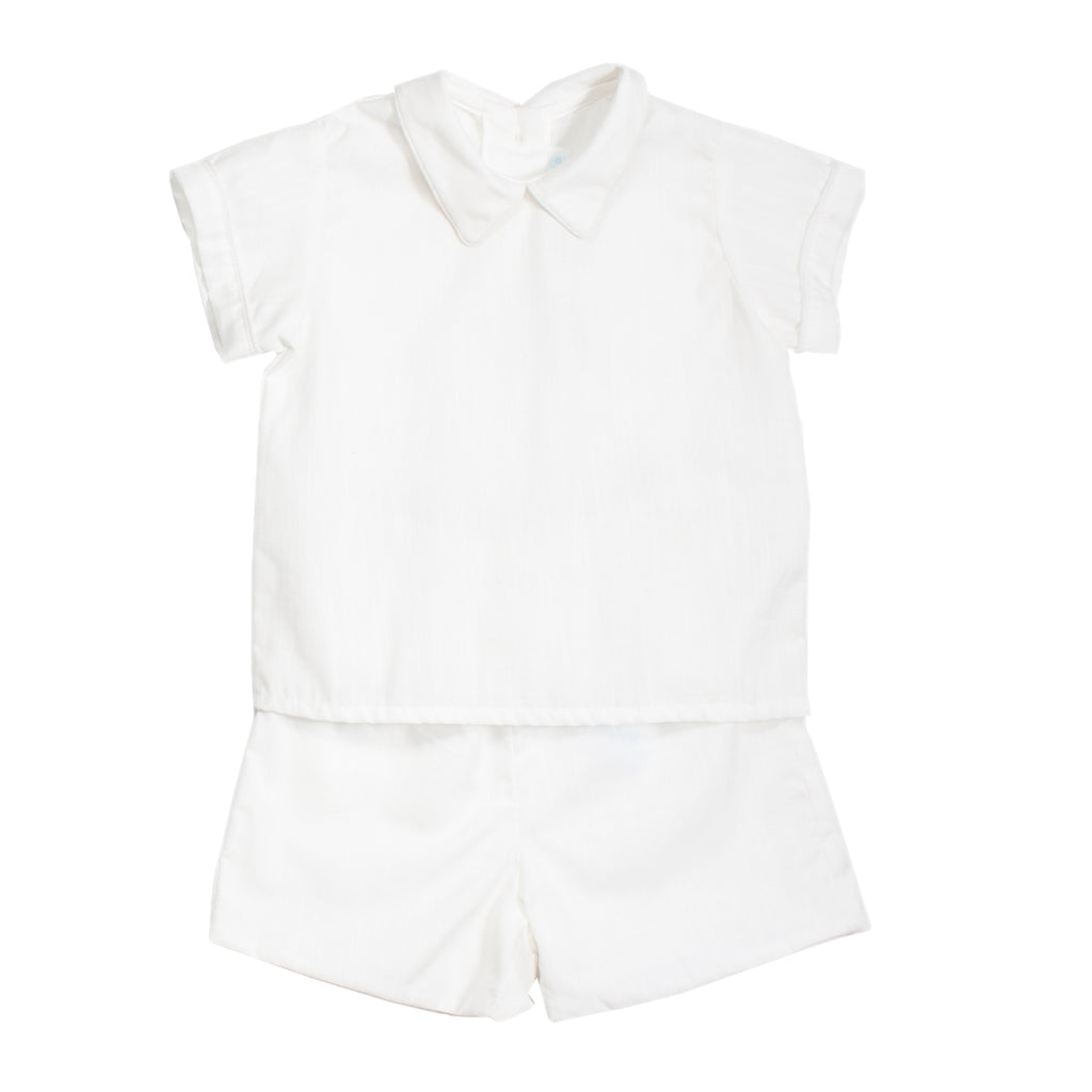 White Baby Boy Linen Set