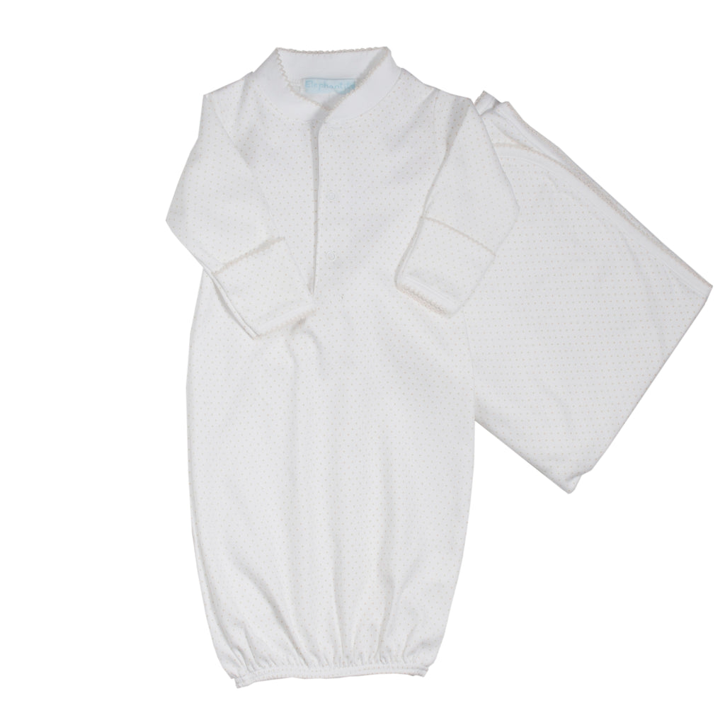 Ecru Stripes Pima Cotton Gown & Blanket Set