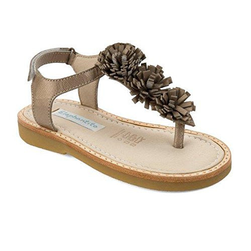 Thong Sandal with Pom Pom Champagne