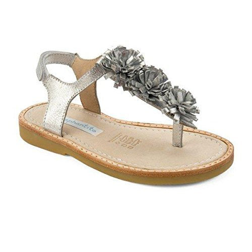 Thong Sandal with Pom Pom Silver