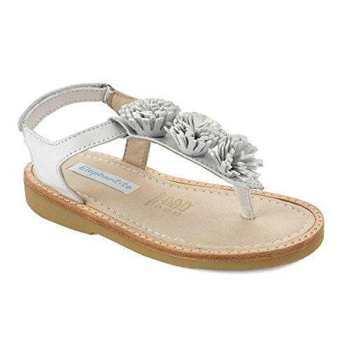 Thong Sandal with Pom Pom White