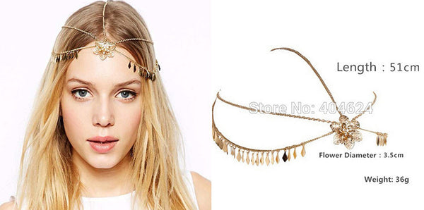 Indian Hair Jewelry Gold Chain Flower Ornament Boho Boutique