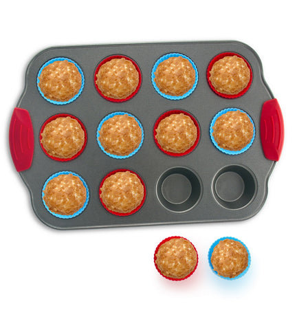 12-Cup Mini Muffin Pan with Silicone Muffin Cups (Set of 12) - Boxiki Kitchen