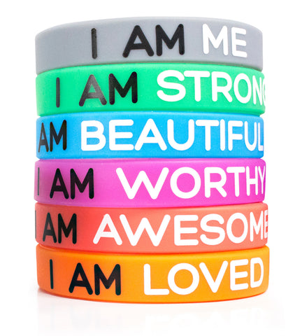 Inspirational Silicone Wristbands. 6-Piece Set Rubber Band Bracelets