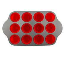 Load image into Gallery viewer, Premium Non-Stick 12-Cup Silicone Liners Muffin Pan by Boxiki Kitchen - Boxiki Kitchen