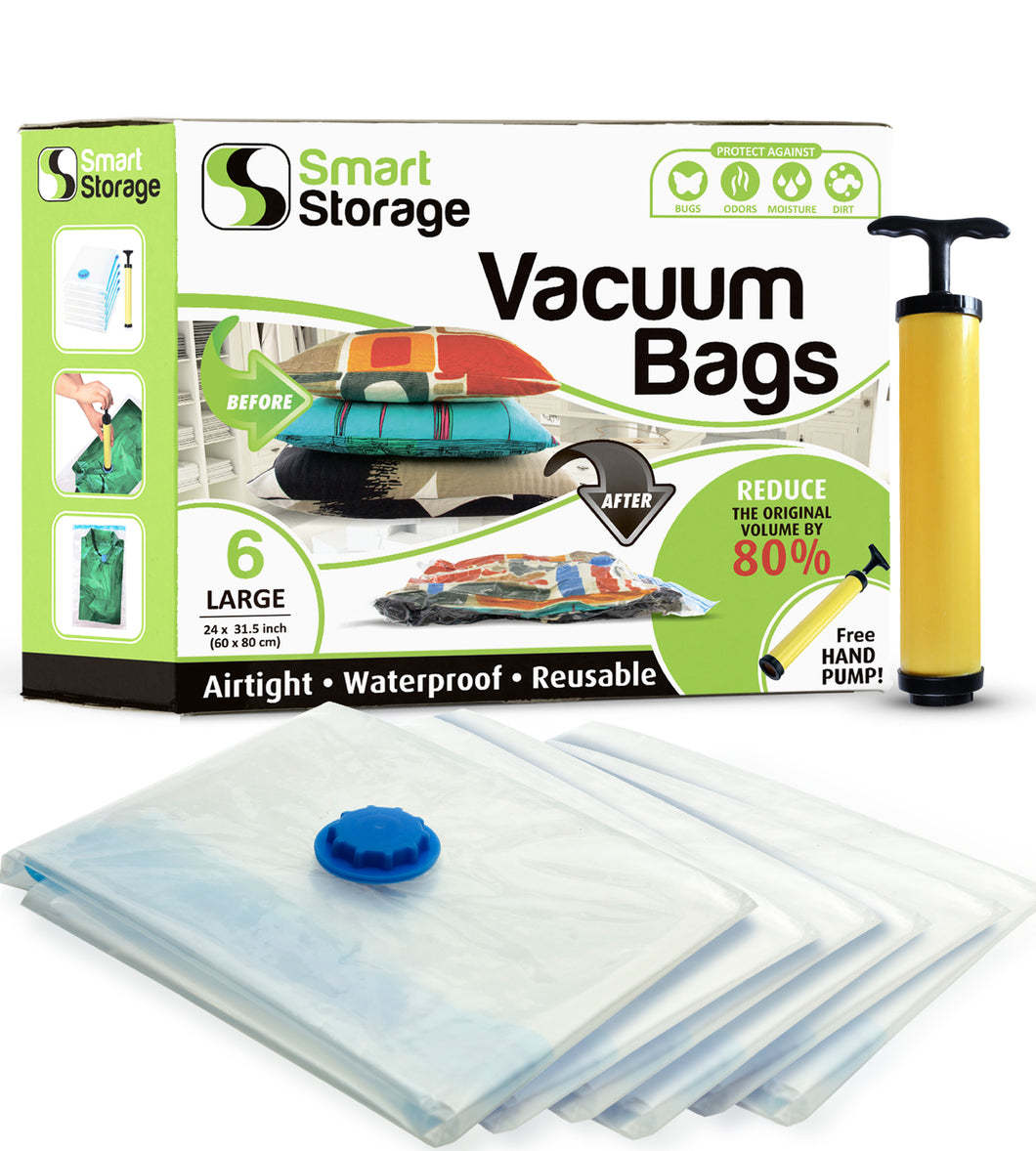 6 PC Space Saver Vacuum Bags (Large) + Travel Pump by Smart Storage - Smart Storage