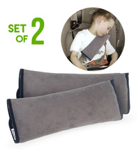 Load image into Gallery viewer, 2 PC Plush Seatbelt Pillow Covers for Adults & Kids by Boxiki Travel - Boxiki Travel