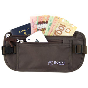 RFID Travel Money Belt Anti-Theft Unisex (Brown) by Boxiki Travel - Boxiki Travel