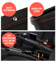 Load image into Gallery viewer, Premium PU Leather Seat Gap Filler & Car Organizer by Boxiki Travel - Boxiki Travel