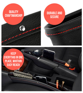 Premium PU Leather Seat Gap Filler & Car Organizer by Boxiki Travel - Boxiki Travel