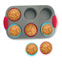 Load image into Gallery viewer, 6-Cup Mini Muffin Pan + Silicone Muffin Cup Liners by Boxiki Kitchen - Boxiki Kitchen