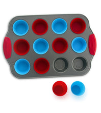 Load image into Gallery viewer, 12-Cup Mini Muffin Pan + Silicone Muffin Cup Liners by Boxiki Kitchen - Boxiki Kitchen