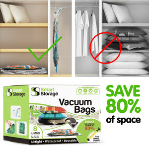 8 PC Space Saver Vacuum Bags (Jumbo) + Travel Pump by Smart Storage - Smart Storage