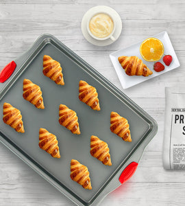 3 PC Non-Stick Steel Baking Sheet + Silicone Handles by Boxiki Kitchen - Boxiki Kitchen