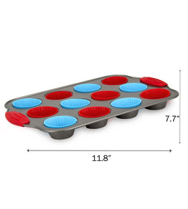 12-Cup Mini Muffin Pan + Silicone Muffin Cup Liners by Boxiki Kitchen - Boxiki Kitchen