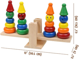 Wooden Rainbow Clown Stacking Toy