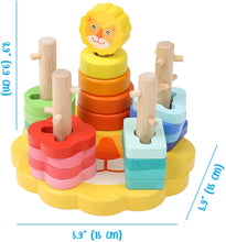 Load image into Gallery viewer, Wooden Lion Stacking Toy